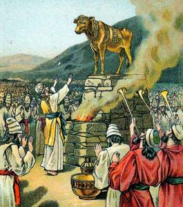 """""""Worshiping the golden calf"""" by the Providence Lithograph Company - http://clipart.christiansunite.com/1246444861/Old_Testament_Clipart/Old_Testament009.jpg. Licensed under Public domain via Wikimedia Commons - http://commons.wikimedia.org/wiki/File:Worshiping_the_golden_calf.jpg#mediaviewer/File:Worshiping_the_golden_calf.jpg"""